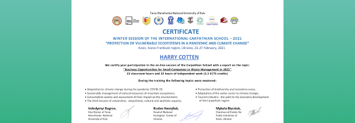 Ecosystems Protection Seminar Certificate